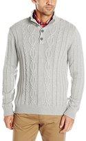 Nautica Men's Cable Button Mock Sweater