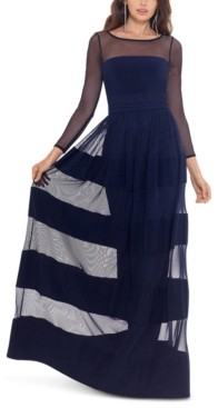 Betsy & Adam Striped-Skirt Gown