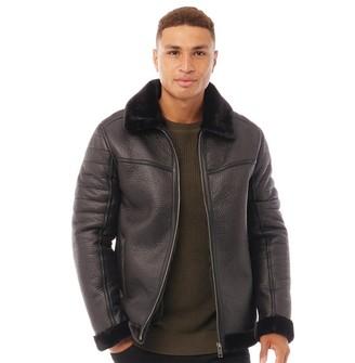Brave Soul Mens Blackout Suede Fur Collar Jacket Black