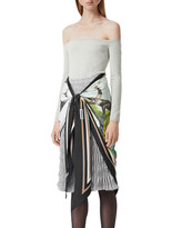 Burberry Cashmere Off-the-Shoulder Bodysuit with Silk Scarf Trim