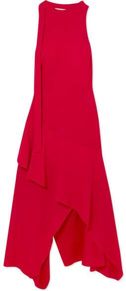 Antonio Berardi Asymmetric Open-back Crepe De Chine Midi Dress - Red