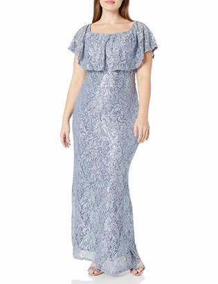 Marina Women's Plus Size Long Popover Lace Dress