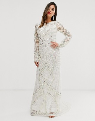 A Star Is Born Bridal embellished maxi dress in ivory-White