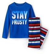 Lands' End Boys Fleece Sleep Set-Vibrant Blue Multi Stripe