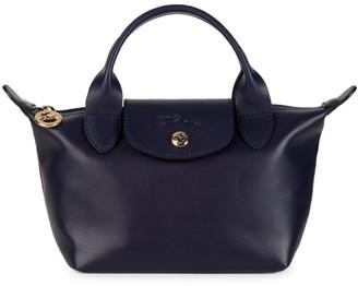 Longchamp Le Pliage Mini Leather Top Handle Bag