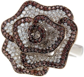 Suzy Levian Sterling Silver Chocolate CZ Ring