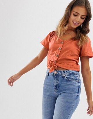 Pimkie button front top with knot detail in rust-Red