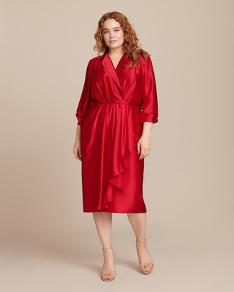 Jason Wu Collection Silk Charmeuse Long Sleeve Collar Day Dress