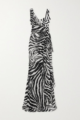 Dolce & Gabbana Draped Zebra-print Silk-blend Georgette Gown - White