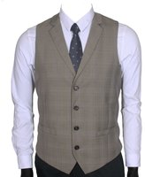 Ruth&Boaz Men's 2Pockets 4Buttons Business Tailored Collar Suit Vest (XXXL, )