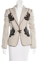 DSQUARED2 Leather-Trimmed Peak-Lapel Blazer