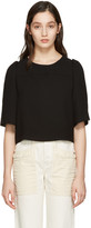 See by Chloe Black Textured Cropped Blouse