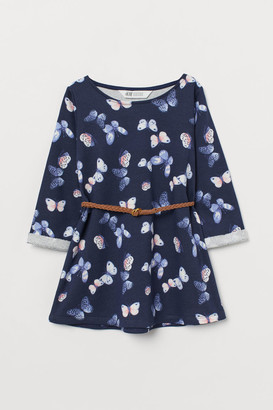 H&M Belted Sweatshirt Dress - Blue
