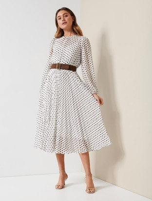 Forever New Fiona Pleat Belted Midi Dress - Porcelain Havana Spot - 10