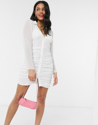 ASOS DESIGN ruched button through mini dress in dobby in white