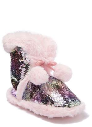 Capelli of New York Reversible Sequin Faux Fur Boot Slipper (Toddler, Little Kid, & Big Kid)