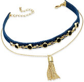 INC International Concepts Gold-Tone Denim and Tassel Layered Choker Pendant Necklace, Created for Macy's