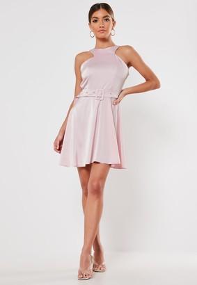 Missguided Lilac Satin High Neck Belted Skater Dress