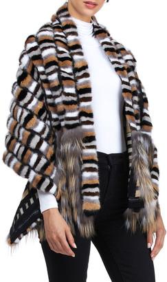 Burnett Mink Fur Wrap Stole w/ Fox Fur Trim