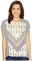 Lucky Brand Printed Mixed Blouse