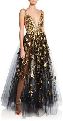 Oscar de la Renta Golden Floral-Embroidered Tulle Illusion Gown