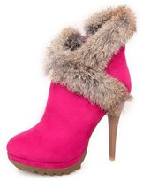 BalaMasa Womens High Heels Ankle High Solid PU Fashion Boots