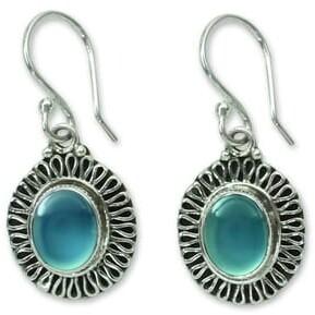 Novica Handmade Sterling Silver 'Blue Fortune Sun' Chalcedony Earrings