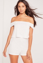 Missguided Crepe Bardot Double Layer Romper White