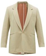 E. Tautz Bi-tone Slubbed-linen Herringbone Blazer - Mens - Green
