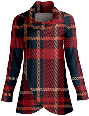 Lily Women's Tunics RED - Red & Blue Plaid Cowl Neck Wrap Tunic - Women & Plus