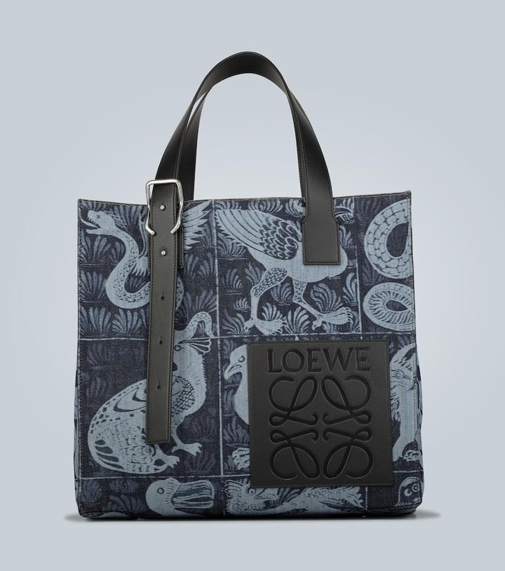 Loewe Leather-trimmed printed denim tote