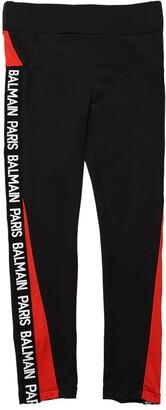 Balmain Stretch Leggings W/ Side Logo Bands