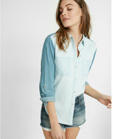 Express denim color block boyfriend shirt