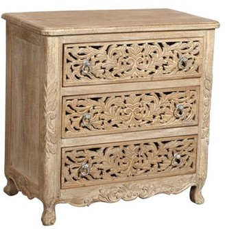 Bungalow Rose Aveliss 3 Drawer Accent Chest Color: White Antique