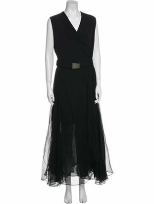Brunello Cucinelli Silk Long Dress Black