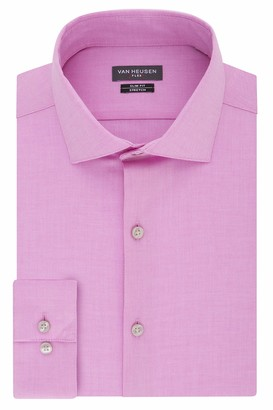 Van Heusen Van Huesen Men's Dress Shirt Slim Fit Flex Collar Stretch Solid