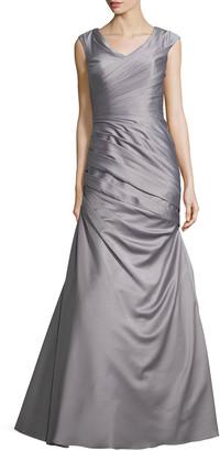 La Femme Cap-Sleeve Ruched Mermaid Gown