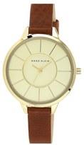 Anne Klein Round Slim Leather Strap Watch, 38mm