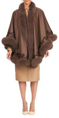 Gorski Fox Fur-Trim Embroidered Wool Cashmere Cape