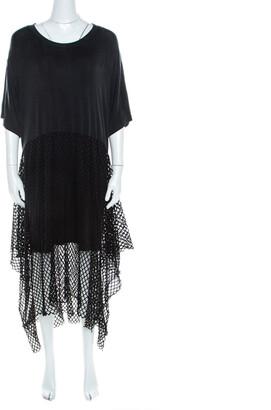 MM6 MAISON MARGIELA Black Mesh Panel Overlay Oversized Midi Dress XS