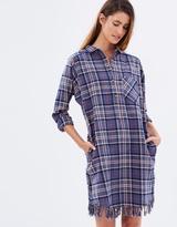 Maison Scotch HW Shirt Dress w Fringed Hem