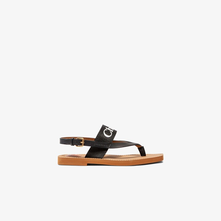 Chloé Black Woody Logo Leather Sandals