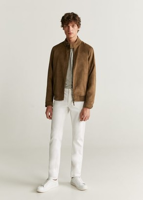 MANGO MAN - Faux-suede biker jacket medium brown - S - Men