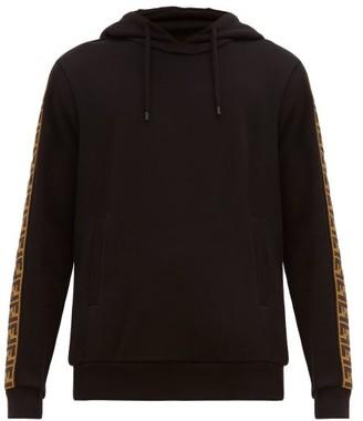 Fendi Logo Jacquard Tape Hooded Sweatshirt - Mens - Black