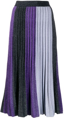 Derek Lam 10 Crosby Colourblock Pleated Midi Skirt