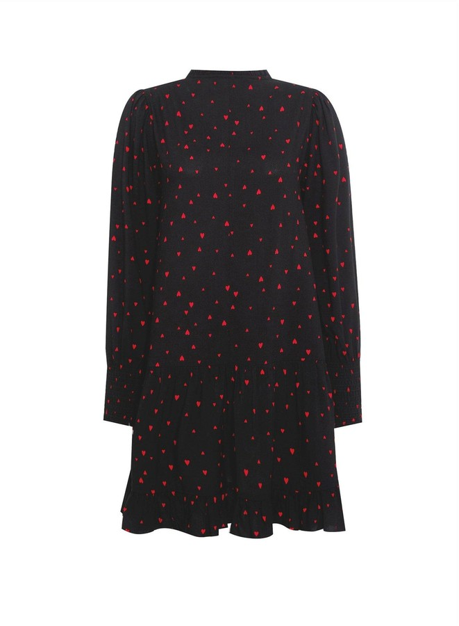 Thumbnail for your product : Dorothy Perkins Red Heart Print Smock Mini Dress -Black