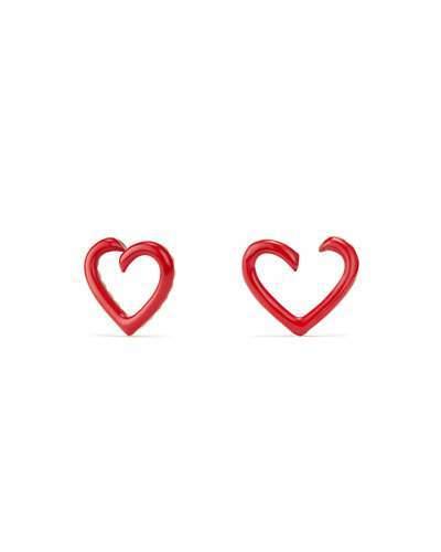 David Yurman 18k Heart-Wrap Enamel Stud Earrings