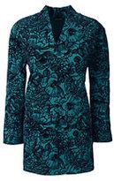Classic Women's Plus Size Flocked Hostess Tunic-Emerald Jewel Flocked Floral