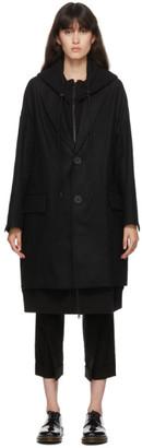 Regulation Yohji Yamamoto Black Wool Double-Layered Hooded Jacket