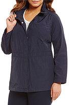 Eileen Fisher Plus Stand Collar Jacket with Hidden Hood